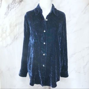 Vintage Ann Taylor Blue Velvet Button Down Blouse
